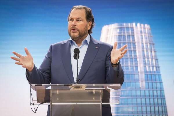 Marc Benioff, chairman and chief executive officer of Salesforce.com Inc., speaks during the grand opening ceremonies for the Salesforce Tower in San Francisco, California, U.S., on Tuesday, May 22, 2018. The building, the�tallest office tower�west of the Mississippi river, opened with a ceremony crowded with local officials on Tuesday, representing the indelible mark San Francisco's largest private employer has made on the city. Photographer: David Paul Morris/Bloomberg