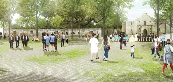 "The Alamo Plaza draft plan includes an ìopen air museum"" -- a shaded, park like setting that emphasizes views of the church. (Reed-Hilderbrand LLC†Renderings)"