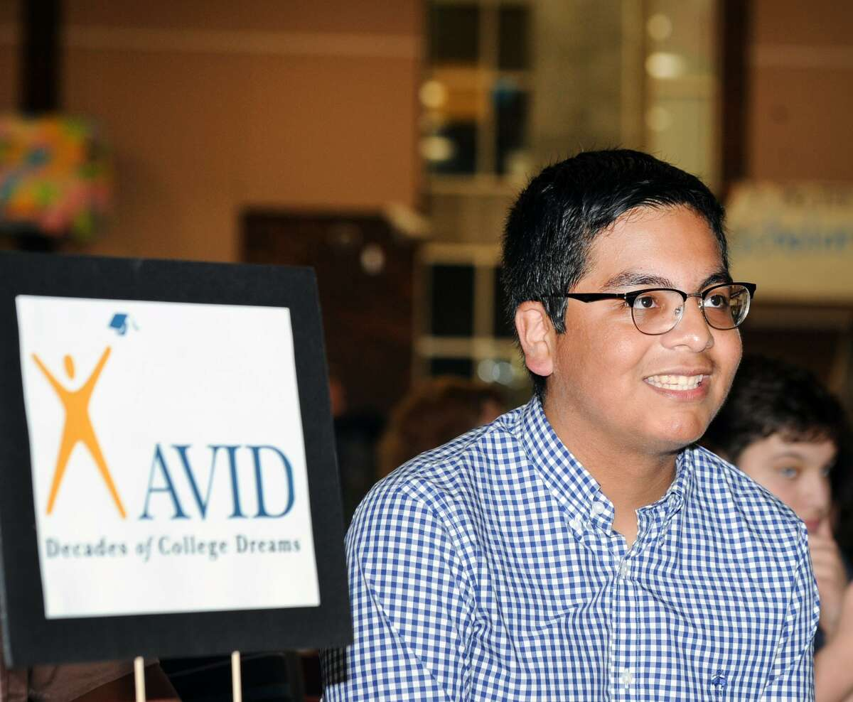Juan Fernandez, 17, during his Greenwich High School AVID Graduation Ceremony in the student center at Greenwich High School, Conn., Wednesday, June 13, 2018. Fernandez said he will be attending Suffolk University in Boston. The Advancement Via Individual Determination program (AVID), targets students in the academic middle and mentors them throughout their school years to prepare them for college. Forty-four Greenwich High School seniors graduated from the program.