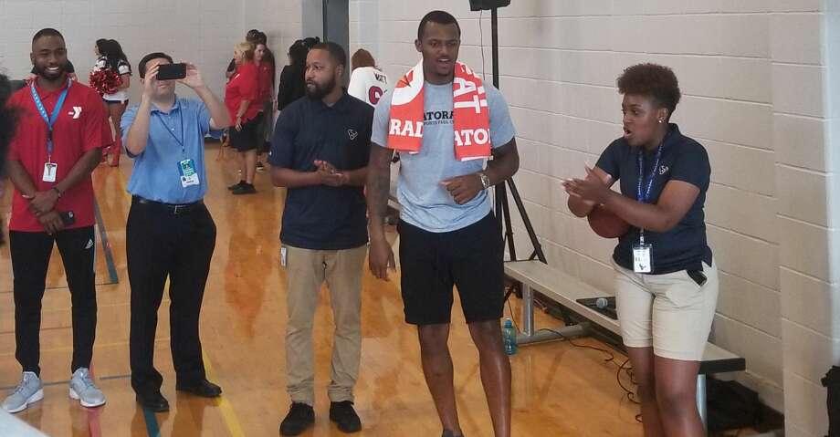Deshaun Watson conducted a Gatorade Beat the Heat event on Thursday at the Houston Texans YMCA. Photo: Aaron Wilson