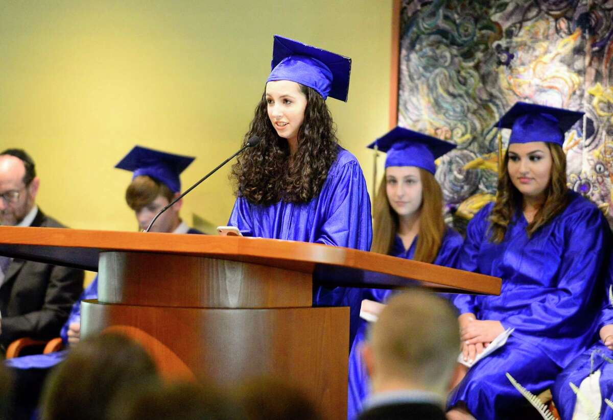 Graduation ceremony for the Jewish High School of Connecticut at Temple Sinai on June 14, 2018 in Stamford, Connecticut.