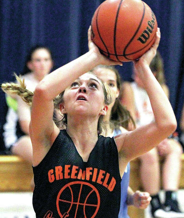 Greenfield's Jessa Vetter puts up a shot at Waverly during Tuesday night summer prep basketball action. Photo:       Dennis Mathes, Journal Courier | For The Telegraph