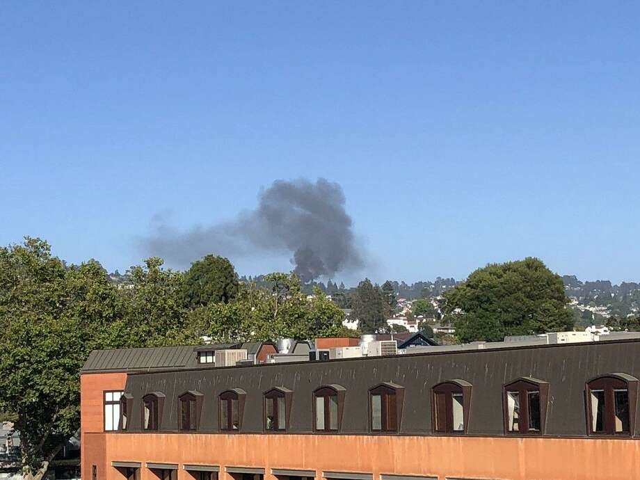 Dark smoke from the blaze rose above Oakland on Thursday. Photo: Oakland Fire Department