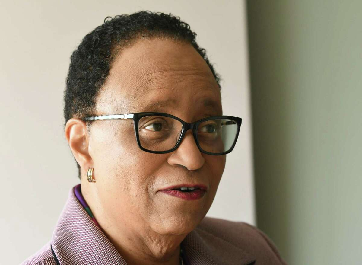 Rensselaer Polytechnic Institute President Shirley Ann Jackson is interviewed before moderating a panel for President's Commencement Colloquy at EMPAC at RPI on Friday, May 18, 2018 in Troy, N.Y. (Lori Van Buren/Times Union)