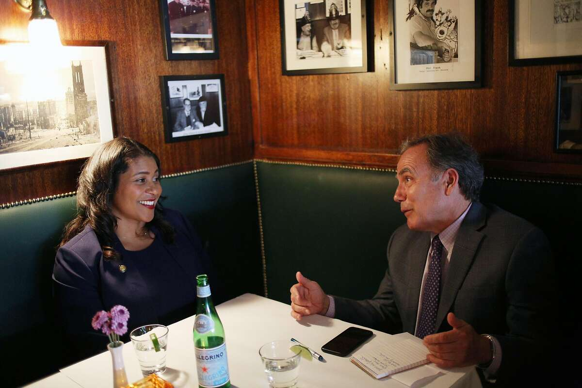 Mayor-elect London Breed is interviewed by San Francisco Chronicle editorial page editor John Diaz at John's Grill restaurant.