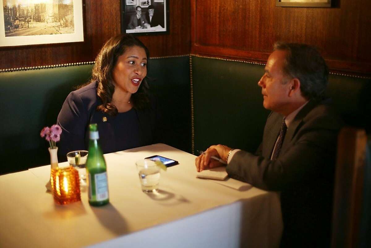 London Breed is interviewed by Editorial Page Editor John Diaz at John's Grill in downtown San Francisco on June 14.
