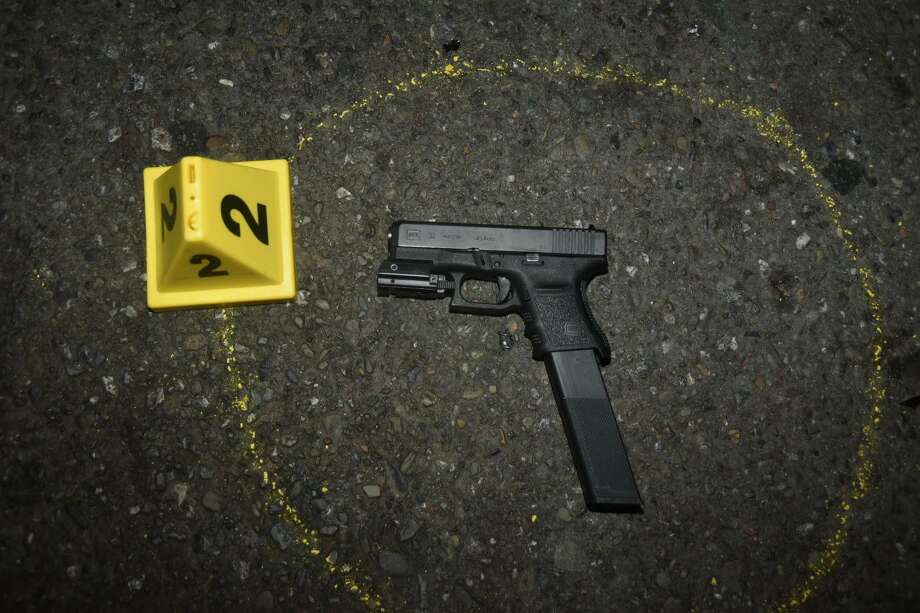 The San Francisco Police Department says Oliver Barcenas pulled this gun during a chase that ended when an officer shot him. Photo: San Francisco Police Department