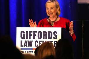 After receiving 2018 Courageous Leadership Award, Hillary Clinton speaks at Giffords Law Center's 25th Anniversary Dinner at Hyatt Regency in San Francisco, CA on Thursday, June14, 2018.
