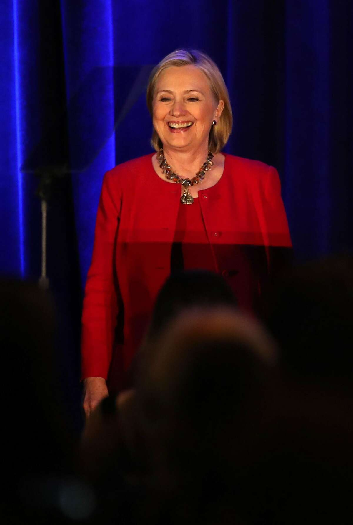 After receiving 2018 Courageous Leadership Award, Hillary Clinton speaks at Giffords Law Center's 25th Anniversary Dinner at Hyatt Regency in San Francisco, Calif., on Thursday, June 14, 2018.