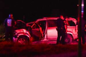 Laredo police and Border Patrol agents respond to a fatal vehicle rollover on Mines Road on Thursday, June 14, 2018.