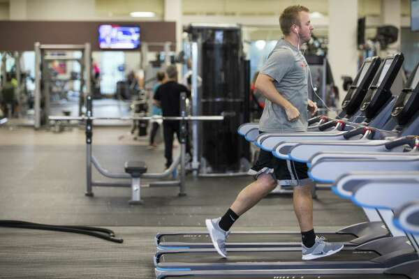 Austin Elrod runs on a treadmill at Villa Sport Athletic Club and Spa on Thursday, June 14, 2018, in Cypress. ( Brett Coomer / Houston Chronicle )
