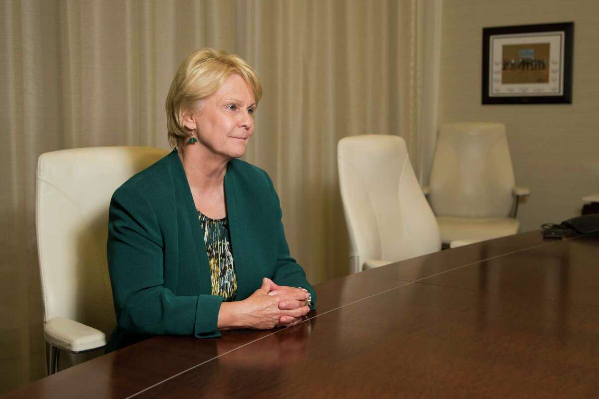 Occidental Petroleum CEO Vicki Hollub, the first woman leading a major American oil company talks about the growth of the company, Monday, June 4, 2018 in Houston.