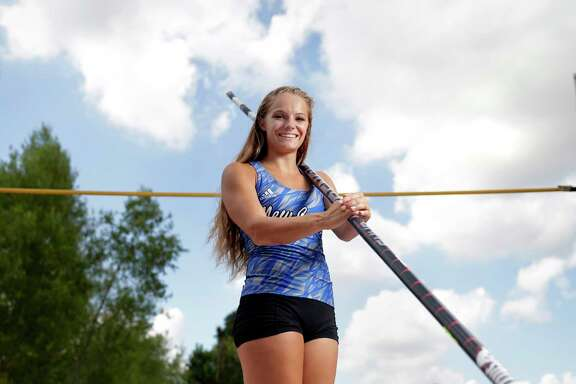Nastassja Campbell, pole vaulter and the All Greater Houston girls track and field athlete of the year at her school's pole vault pit Wednesday June 13, 2018 in Porter, TX. (Michael Wyke / For the  Chronicle)
