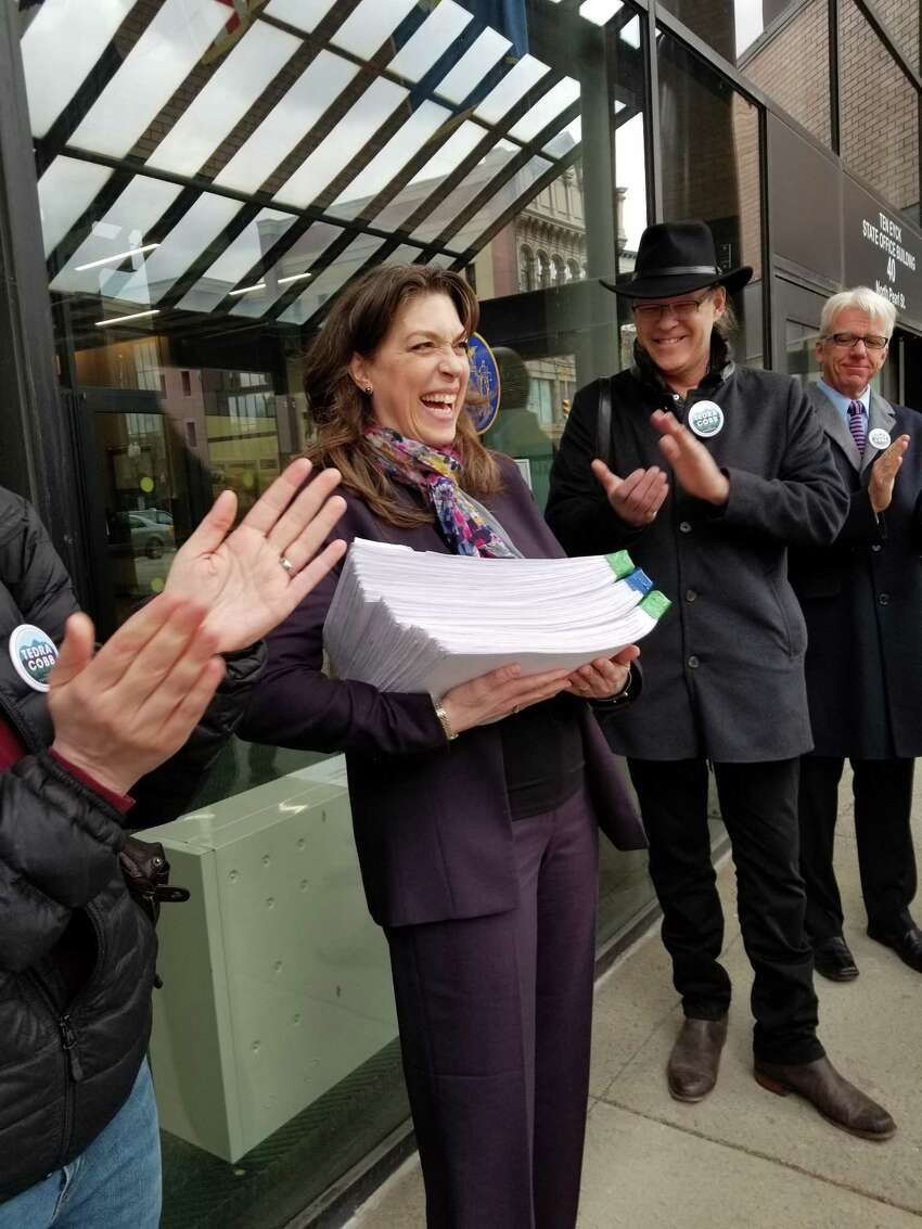 Democratic congressional hopeful Tedra Cobb delivers signatures to the state Board of Elections in Albany. (provided)