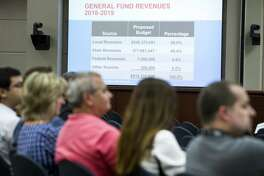The Cypress-Fairbanks ISD budget is presented to the board of trustees district's board of trustees meeting on Thursday, June 14, 2018, in Cypress. ( Brett Coomer / Houston Chronicle )