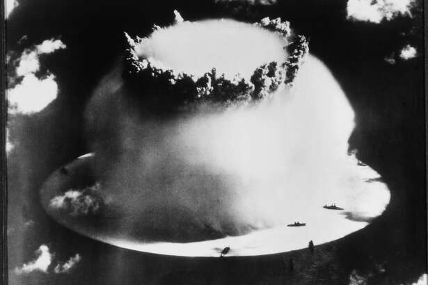 The US tests an atomic bomb over the Bikini Atoll in 1946.