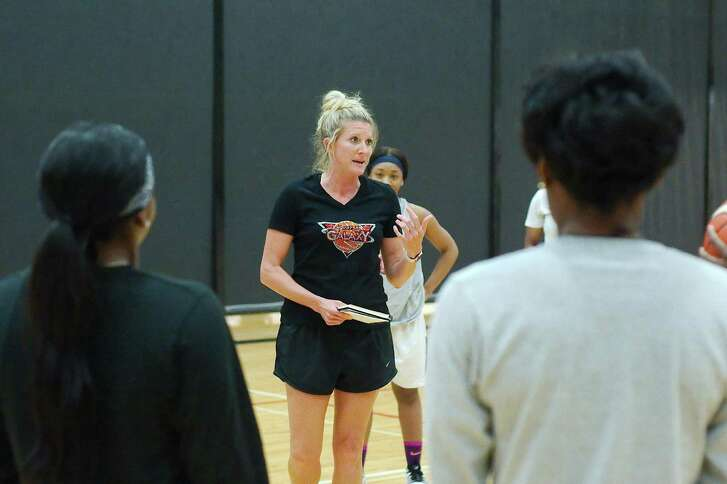 """Houston Galaxy coach Cheri Montgomery, hired by her sister, Friendswood resident Flo Craig, played basketball as a youth, was part of squad that won a state championship for Bay Area Christian School and played two years at Nebraska's Concordia University. """"Being able to push these girls and help them accomplish their dreams is what I want to do,"""" she said."""