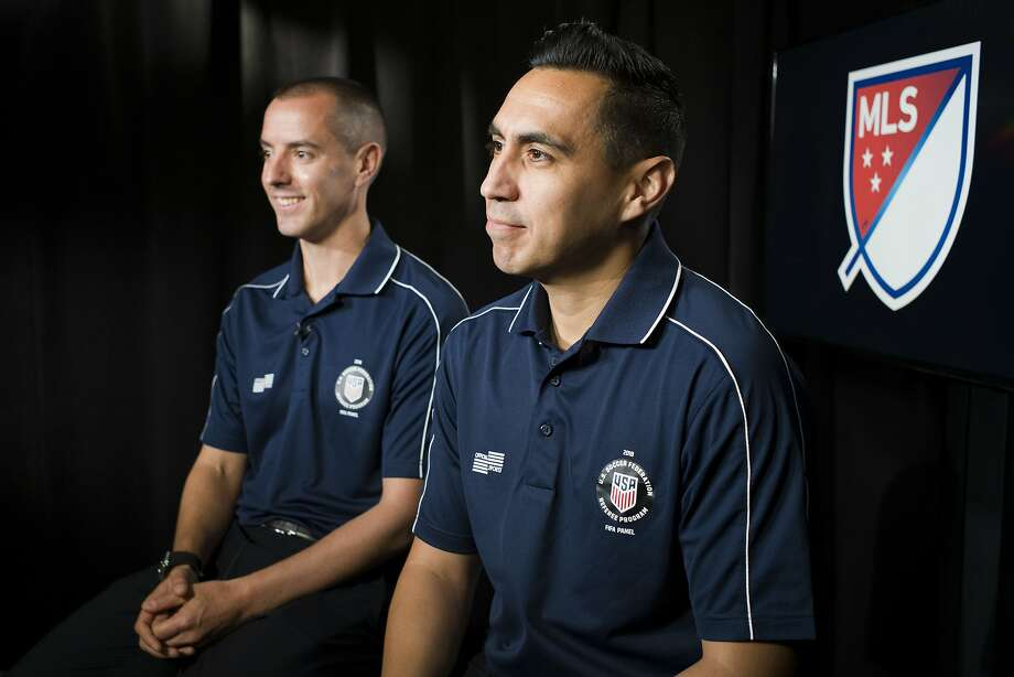 American referees Mark Geiger (left) and Jair Marrufo are in Russia to referee at the World Cup. Photo: Mark Lennihan / Associated Press