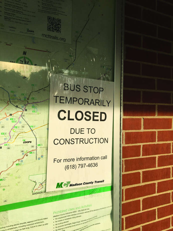As a result of the summer reconstruction project on Troy Road, the Madison County Transit bus stop near the Leclaire baseball field has been temporarily closed. Service will resume when the construction project is finished. The bus stop also closed for the summer last year when South Buchanan Street was repaired.