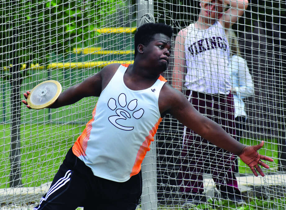 Edwardsville junior Amari Brooks competes in the discus at the Class 3A Belleville West Sectional on May 19.
