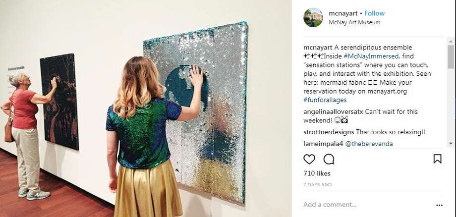 """mcnayart: """"A serendipitous ensemble. Inside #McNayImmersed, find 'sensation stations' where you can touch, play, and interact with the exhibition. Seen here: mermaid fabric. Make your reservation today on mcnayart.org #funforallages"""" Photo: Instagram Screengrabs"""