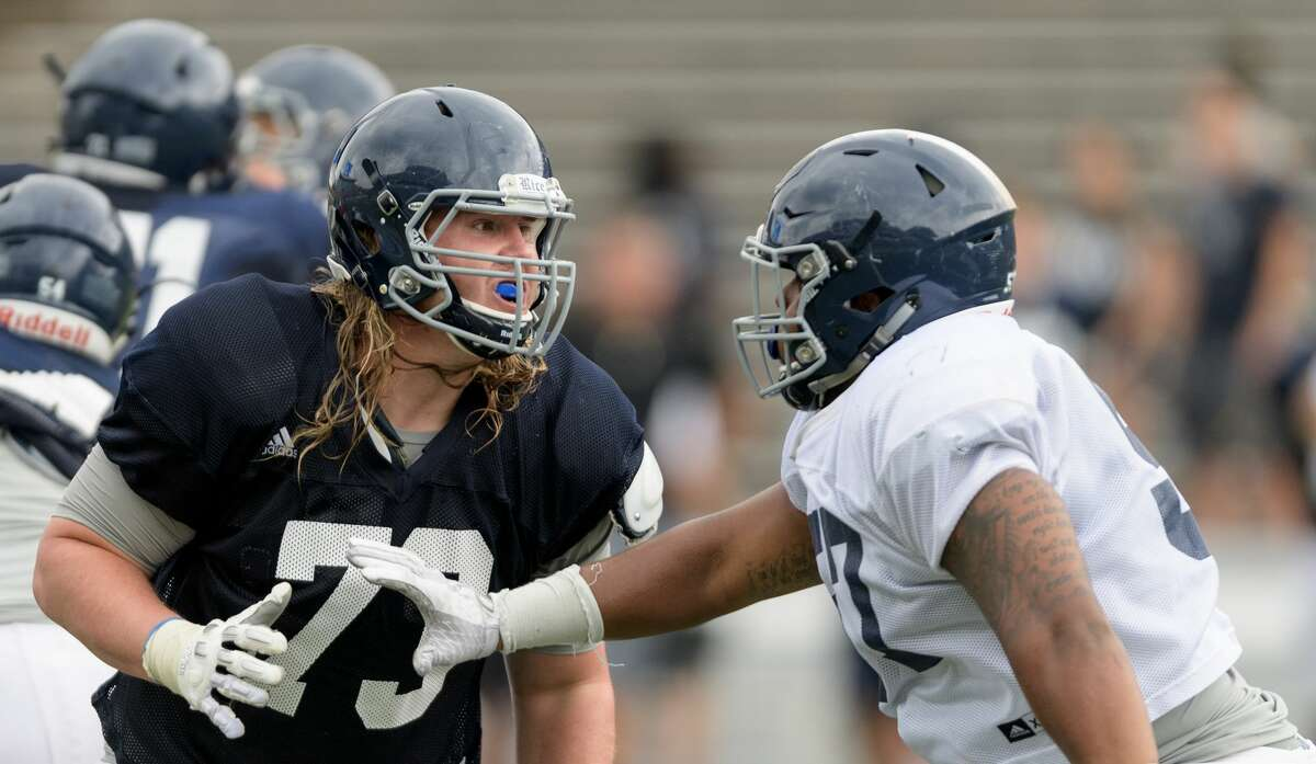 Peter Godber (73) of the Rice Owls blocking in an inter squad scrimmage on Saturday, August 13, 2016 at Rice Stadium in Houston Texas.