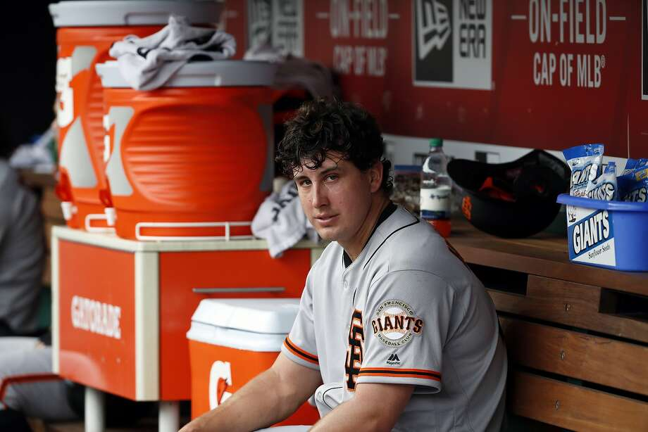 San Francisco Giants starting pitcher Derek Holland (45) sits in the dugout during a baseball game against the Washington Nationals at Nationals Park, Sunday, June 10, 2018, in Washington. (AP Photo/Alex Brandon) Photo: Alex Brandon / Associated Press