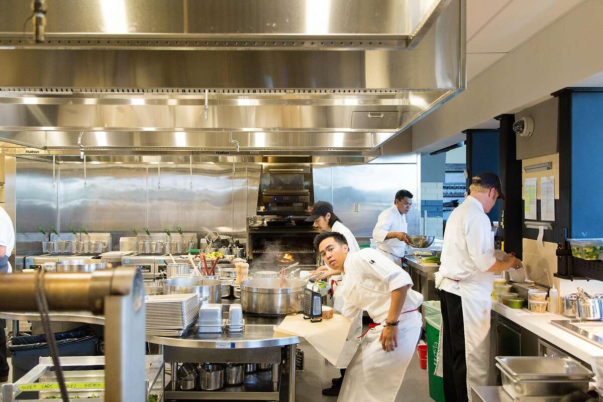 A robust kitchen staff and equipment will be churning out meals for the thousands of fans on game day at the new Michael Mina restaurant Bourbon Steak & Pub at Levi's Stadium in Santa Clara, Calif., Monday, August 11, 2014.