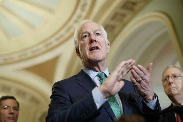 FILE — Senate Majority Whip John Cornyn (R-Texas) speaks at the Republican luncheon news conference on Capitol Hill in Washington, May 22, 2018. As U.S. ties to its closest allies frayed over President Donald Trump's bellicose approach to trade, Republicans in Congress largely stuck with the president. (Tom Brenner/ The New York Times)