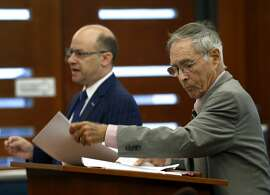 Attorneys Michael Von Loewenfeldt (left), representing the Commission on Judicial Performance, and Myron Moskovitz, representing the state auditor's office, appear in Superior Court Judge Suzanne Ramos Bolanos's courtroom to present final arguments in their case in San Francisco, Calif. on Thursday, Aug. 17, 2017. Judge Bolanos has up to ninety days to decide if the commission will be forced to turnover decades of confidential judicial complaints.