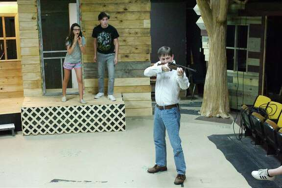 "Sadie Ostrowicki, Brooks Nami and Richard G. Groseclose rehearse a scene from ""To Kill a Mockingbird."""