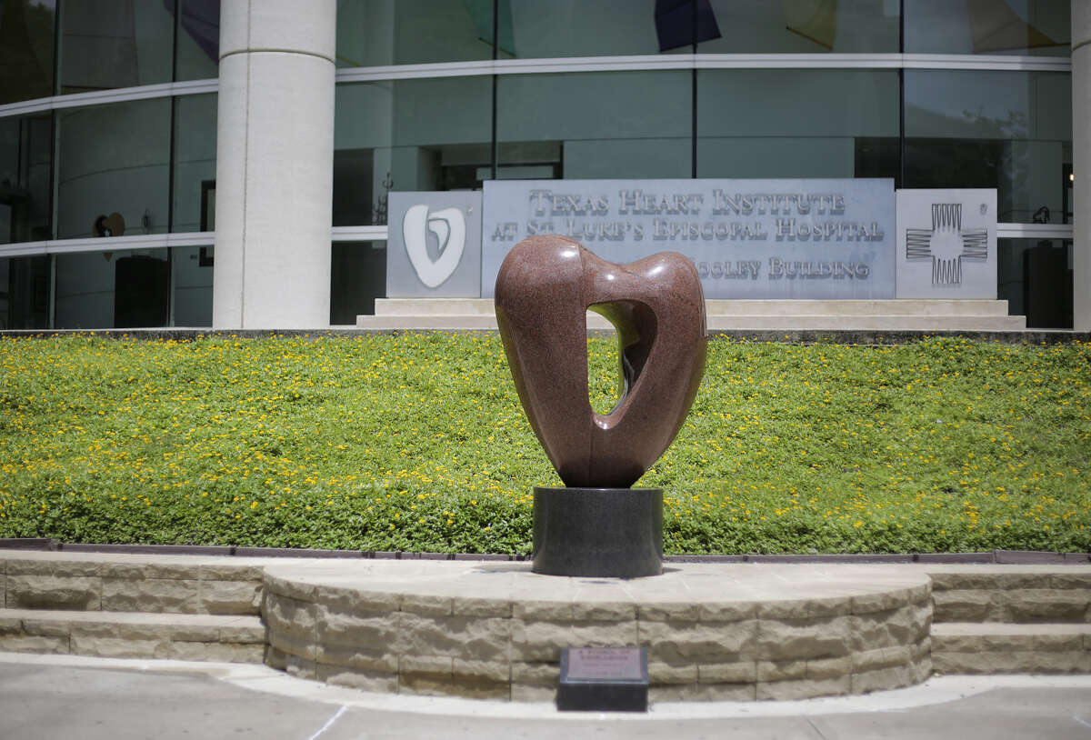 A statue in front of the Texas Heart Institute at St. Luke's Hospital on Friday, June 15, 2018, in Houston.