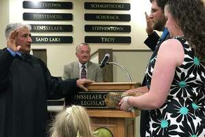 """Charles """"Chuck"""" Peter of Schodack is sworn in as the newest member of the Rensselaer County Legislature, joining the Republican majority."""