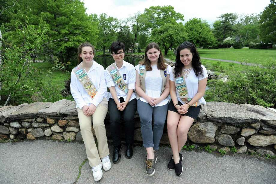 Greenwich Girl Scout Gold Award winners, from left, Miriam Ojjeh, Caity Sushon, Phoebe Daur and Elizabeth Biederman pose for a photo at Binney Park in Greenwich, Conn. on Sunday, May 20, 2018. Photo: Michael Cummo / Hearst Connecticut Media / Stamford Advocate