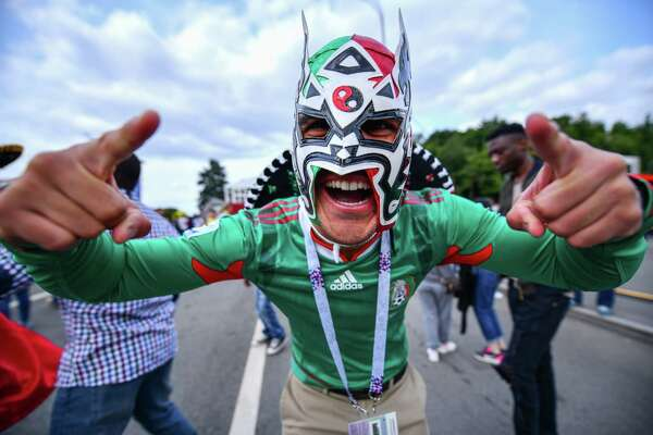 MOSCOW, RUSSIA - JUNE 14: Fan of Mexico pose during the 2018 FIFA World Cup Russia group A match between Russia and Saudi Arabia at FIFA Fans Fest Moscow on June 14, 2018 in Moscow, Russia.