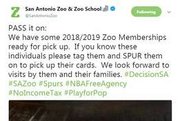 The San Antonio Zoo seemed to retract an offer for a membership to Kawhi Leonard. LeBron Jame's offer still stands though.