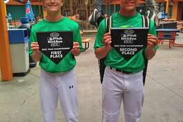 Kale Snyder, left, won the 11-12 division and Keygan Toliver, right, took second place in the 13-14 division at the Pitch, Hit and Run competition at Comerica Park on June 9. Both are Bullock Creek students. (Photo provided by Stephanie Snyder)