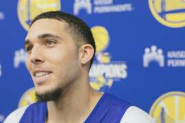 LiAngelo Ball, younger brother of Lakers guard Lonzo Ball, during a press conference after a pre-draft training workout with the Golden State Warriors at the Warriors training facility in downtown Oakland, California, on June 15th, 2018.