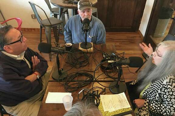 "From left, Greg Morogo, Scott Moore, Alison Cook and Chris Reid recording the Houston Chronicle podcast ""BBQ State of Mind"" at Tejas Chocolate and Barbecue, in Tomball."