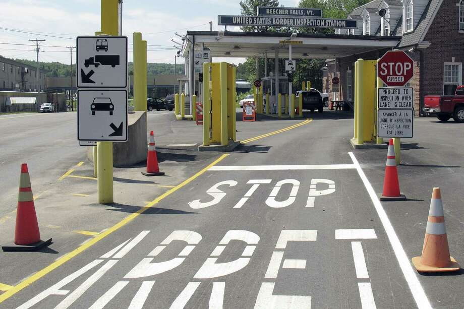 The U.S. border crossing post at the Canadian border between Vermont and Quebec, Canada, at Beecher Falls, Vt. Photo: Wilson Ring, STF / Associated Press / Copyright 2017 The Associated Press. All rights reserved.