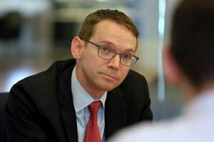 Texas Education Commissioner Mike Morath, visiting the Houston Chronicle  last month, told the State Board of Education this week that the number of students affected by connectivity problems during online STAAR testing in April and May exceeded 100,000. ( Godofredo A. Vasquez / Houston Chronicle )
