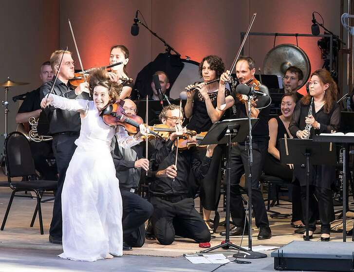 Violinist Patricia Kopatchinskaja performing with members of the Mahler Chamber Orchestra at the Ojai Music Festival last week