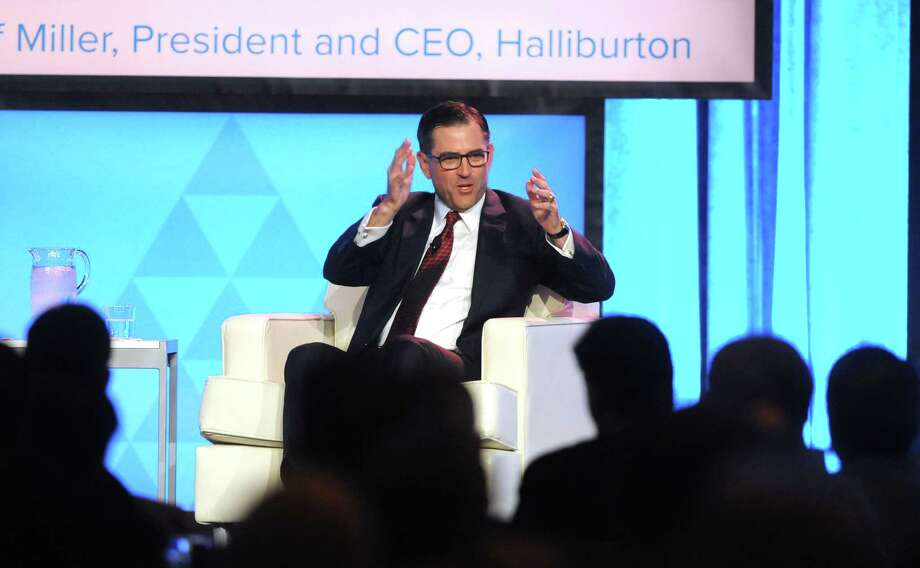Halliburton CEO Jeff Miller speaks at the Greater Houston Partnership's annual energy luncheon at the Marriott Marquis Friday June 15,2018.(Dave Rossman photo) Photo: Dave Rossman / 2018 Dave Rossman