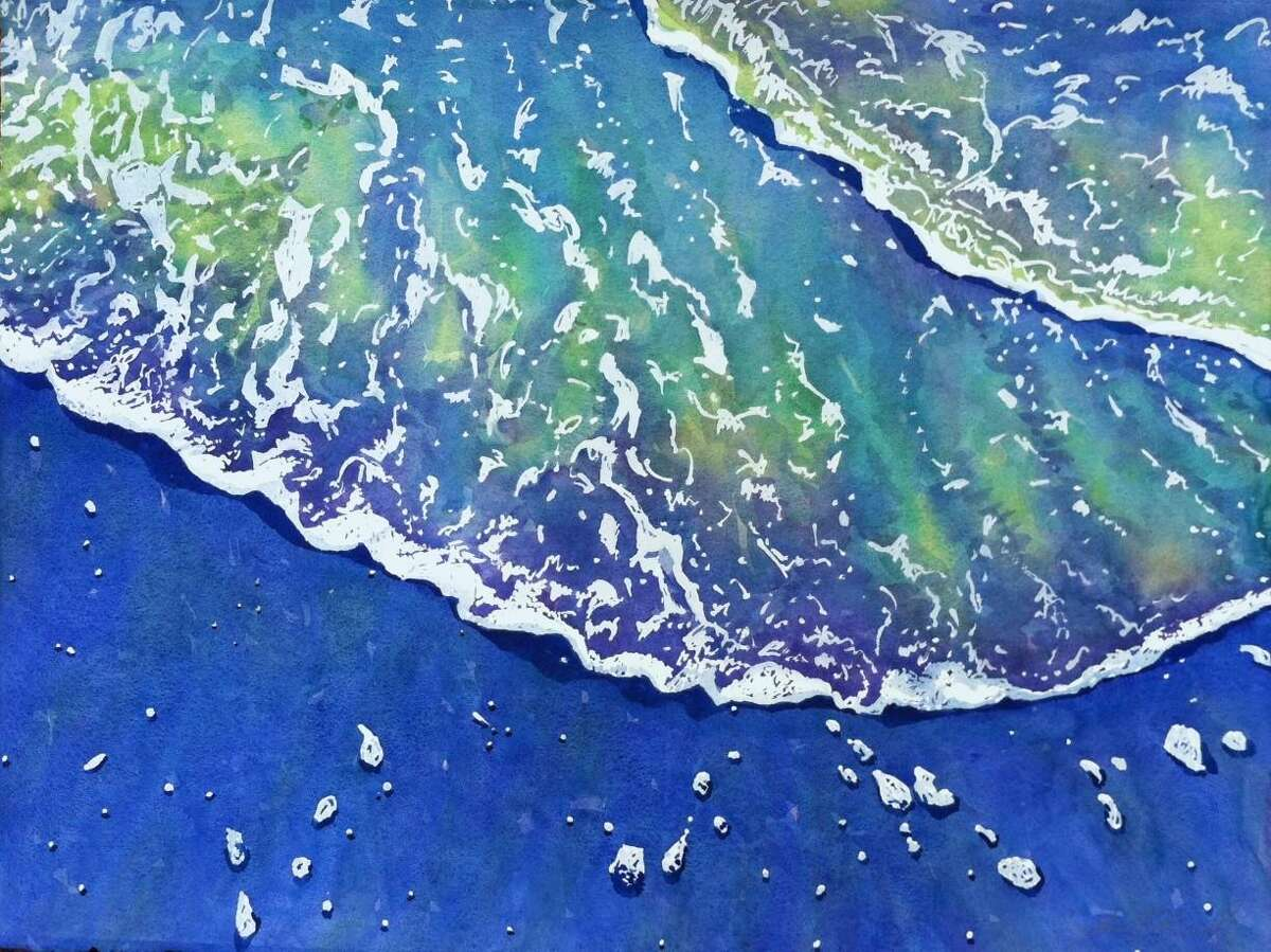 """""""Sea Lace,"""" a watercolor painting bycelebrated watercolor artist Cynthia Reid, part of her dazzling exhibition ?""""Seascapes and Landscapes?"""""""