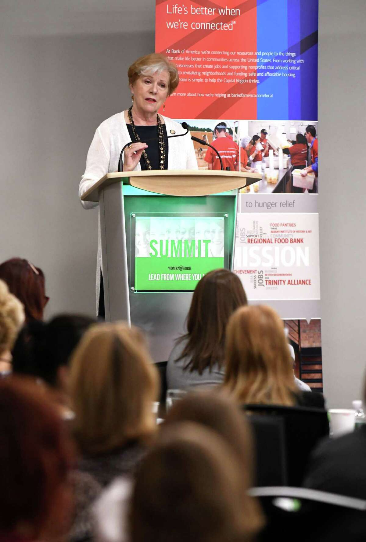 Labor Department Commissioner Roberta Reardon speaks during the Women@Work Summit held at the Hearst Media Center on Friday, June 15, 2018, in Colonie, N.Y. The event brought together more than 150 women from across the Capital Region for keynote speakers and panel discussion related to leadership theme: Lead from Where You Are. (Will Waldron/Times Union)