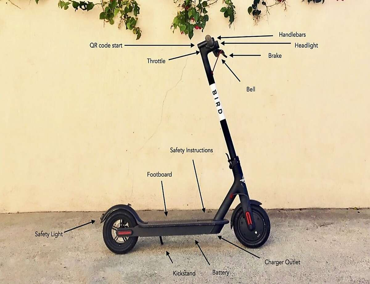 Bird of Santa Monica, Calif., submitted an application in June 2018 to the San Francisco Municipal Transportation Agency to deploy stand-up scooters. Here's what one looks like.