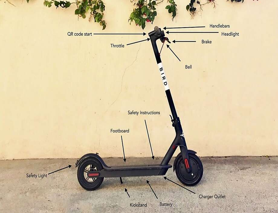 Bird of Santa Monica, Calif., submitted an application in June 2018 to the San Francisco Municipal Transportation Agency to deploy stand-up scooters. Here's what one looks like. Photo: Bird
