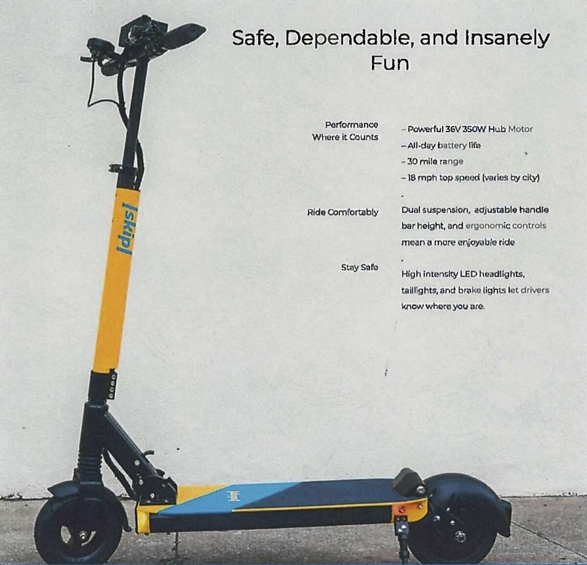 Skip of San Francisco, formerly known as Waybots, submitted an application in June 2018 to the San Francisco Municipal Transportation Agency to deploy stand-up scooters. Here's what one looks like.