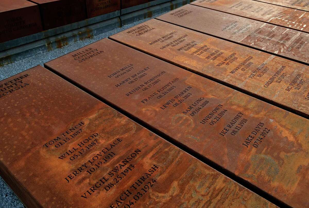 Duplicates of more than 800 Corten steel monuments representing victims of lynching have been placed in a field behind the the National Memorial for Peace and Justice. The Equal Justice Initiative, which maintains the memorial, has offered to give these duplicate columns to counties that confront their history of lynching.