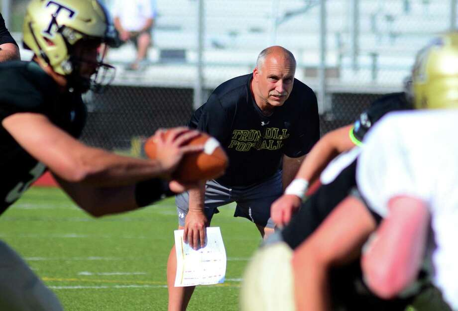 Trumbull High's new football coach Marce Petroccio, oversees the team's Black and Gold spring game in Trumbull, Conn., on Friday June 15, 2018. Photo: Christian Abraham / Hearst Connecticut Media / Connecticut Post